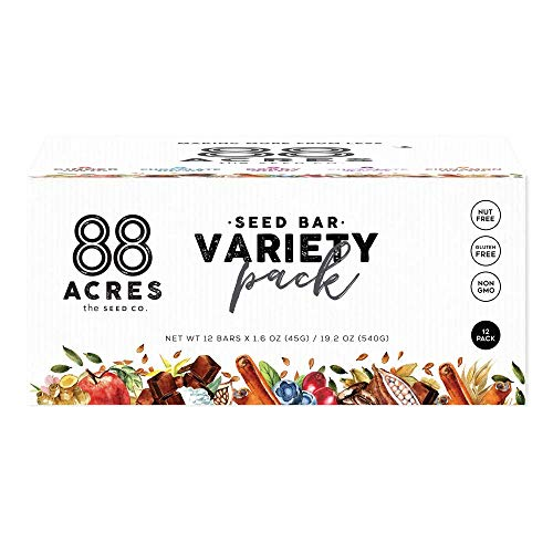 88 Acres Variety Pack Seed Granola Bars, Gluten-free, Nut-free, Non-gmo, Vegan (12 pack)