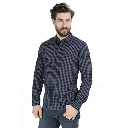 Levi's Sunset 1 Pkt Slim Camisa, Azul (Angelo Indigo 0002), Large para Hombre