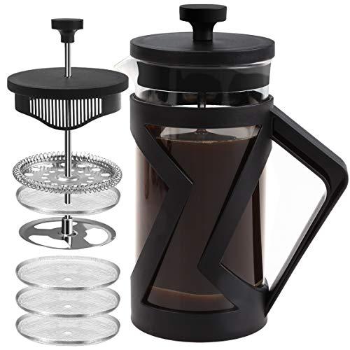 FAVIA Cafetière à piston French Press avec 4 filtres en verre borosilicate résistant à la chaleur, portable, passe au lave-vaisselle Noir(350ml)