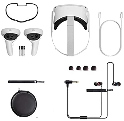 Newest Oculus Quest 2, Advanced All-in-One Virtual Reality Gaming Headset, 64GB White, Bundle with Stereo in-Ear Headphones Accessories Set