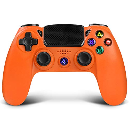 Wireless Controller for PS4,Proslife Game Controller for Playstation 4/Pro/Slim consoles Touch Panel Joypad with Dual Vibration,Wired Gaming Remote for PS3/PC Windows via USB cable-Orange Sunset