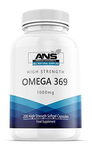All Natural Omega 3 6 & 9, Pack of 200 1000mg High Strength Liquid softgels