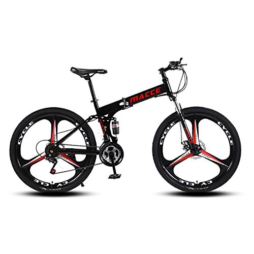 RUZNBAO Bicicleta Plegable Ciclismo de 26 Pulgadas de 27 velocidades Junior Ciclismo Adulto para Mujer Corredor Off-Road (Color : Black)