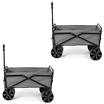 Seina Collapsible Steel Frame Folding Utility Beach Wagon Cart Gray  2 Pack