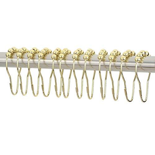 Qingsb 1 set van 12 stuks douchegordijn haken ringen goud roestbestendig douchegordijn gloeilamp vorm ringen haken, goud