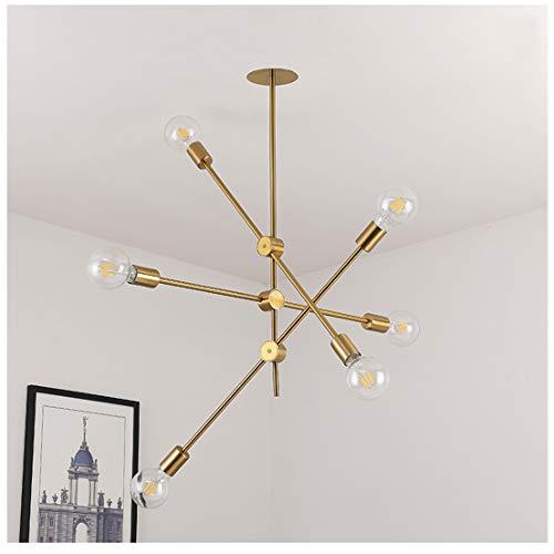WnLit Nordischer Hängeleuchte postmoderner Kronleuchter einfaches Wohnzimmer Esszimmer Hängelampe Schlafzimmer Pendelleuchte Nachttisch kreative Zweig Eisen LED-Leuchte,6H