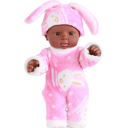 Gobbuy Reborn Baby Doll Suave simulación Realista Reborn Baby Dolls con muñecas africanas acompañar a niños o Ancianos