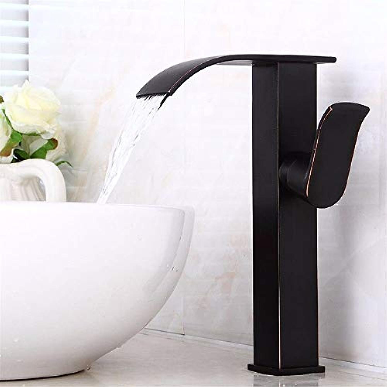 MARCU Home Waschbecken-Mischbatterie Badezimmer-Küchen-Becken-Hahn auslaufsicher Wasser sparen Kupfer fllt hei und kalt schwarz Retro