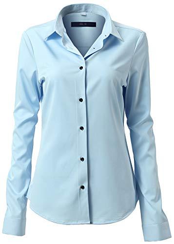 FLY HAWK Damen Hemd Bluse Basic Bambusfaser Hemdbluse Slim Fit Arbeitshemden Langarm Stretch Hemden Freizeit Business Elegant Hemd Größe 34 bis 52,Hellblau,40 (UK 12)