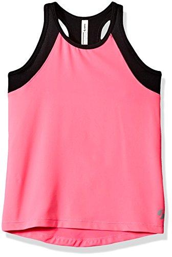 Soffe Girls' Big High Neck Track Tank, Neon Pink/Black, Medium