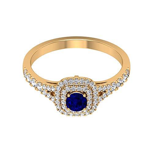 Anillo de oro vintage, 4,00 mm de zafiro azul, anillo de diamante HI-SI, anillo de halo solitario con piedras laterales (calidad AAA), 14K Oro amarillo, Size:EU 53