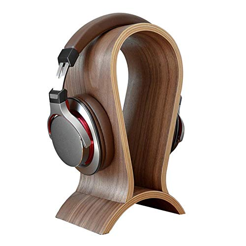 Universal Headphone Stand, Solid Walnut Wood Display Holder for Gaming Headsets DJ Studio Headphones & Earphone Display - Arch with Phone & Cable Holder