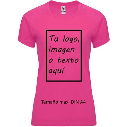 rainUP – Camiseta Técnica Personalizable – Camiseta Deportiva Running Mujer - Manga Corta – Impresión Directa (DTG) – Puedes añadir tu Frase, Logo o Imagen Personalizada (Rosa)