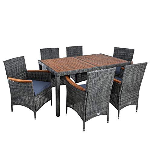 IHD Polyrattan Sitzgruppe Gartenmöbel Set 6 Personen Akazie Holz Rattan Möbel Gartenset Holzmöbel Akazienholz Akazie Essgruppe (Anthrazit-Grau)