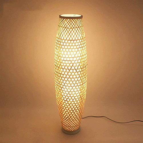 Xiaokang Lámpara de pie Bambú de Mimbre de bambú Ratan Sombra Florero Lámpara de pie Luz Rústico Asiático Japonés Nordic Tungsteno Lámparas de pie de luz