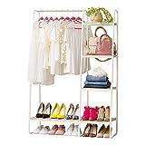 IRIS USA PI Standing Garment Metal, Clothing Rack with Bottom Shelf, 3 Wood Shelves, White