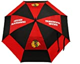 """Team Golf NHL Chicago Blackhawks 62"""" Golf Umbrella with Protective Sheath, Double Canopy Wind Protection Design, Auto Open Button"""