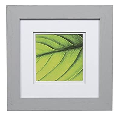 """Gallery Solutions 8x8 Flat with Double Mat for 5x5 Photo, Wall Mount & Tabletop Picture Frame, 5"""" x 5"""", Gray"""