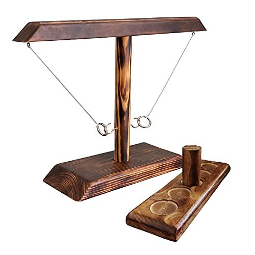 Ring Toss Game, Holz Tischplatte Hook Ringwurfspiel Kinder, Premium Party Wurfspiele Spiel für Family Bar Fun Indoor/Outdoor Game