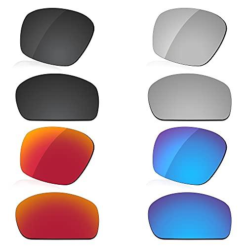 LenzReborn Reemplazo de lente polarizada para Arnette Corner Man AN4216 Sunglass - Más opciones, Negro oscuro + gris plateado + rojo fuego + azul hielo, Talla única