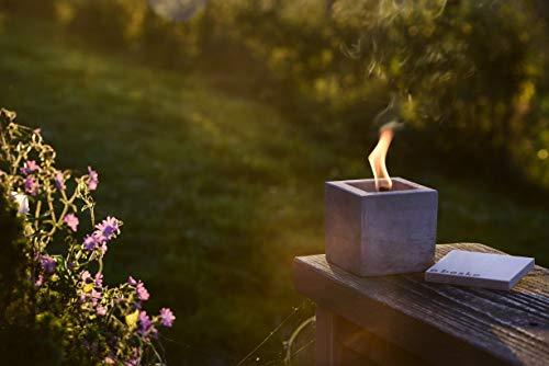 """Antorcha de hormigón con """"mecha permanente"""", Tamaño 10x10x10, Antorcha de jardín rellenable, Tiempo de combustión """"infinito"""" gracias al reciclado ecológico de la cera de las velas, Antorcha de mesa"""