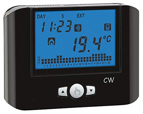 VEMER VE787200 CW - Cronotermostato WiFi de Pared con alimentación 230 Vac, Color Negro, controlable a Distancia Mediante App