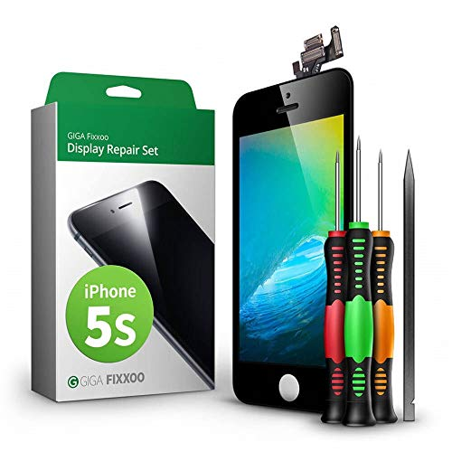 GIGA Fixxoo Display-Set für iPhone 5s | SCHWARZ | vormontiertes Reparatur-Set komplett mit Frontkamera & Werkzeug-Kit, Ersatz Bildschirm | Retina LCD Glas mit Touchscreen