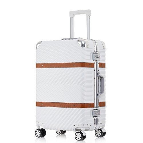 TABITORA(タビトラ) スーツケース 大型 8輪 耐衝撃 トランクケース TSAロック 旅行用品 出張 超軽量 大容量 静音 アルミフレーム 77L 5.3KG ホワイト L