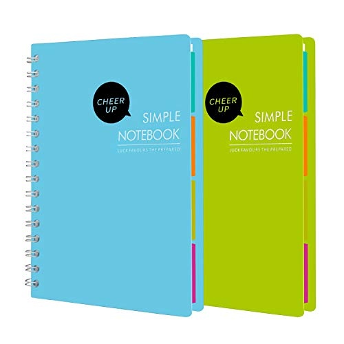 Cheer Up Spiral Notebook, 4 Subject, College Ruled, A5 Notebooks, 240 Pages, 2 Pack (Blue + Green)