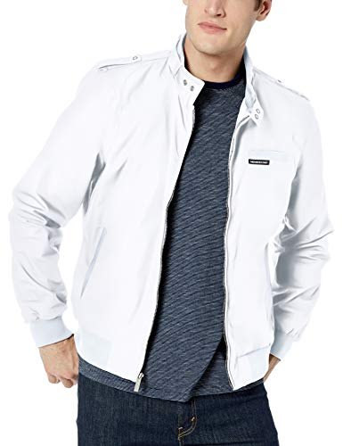 Members Only Men's Original Iconic Racer Jacket, White, Medium