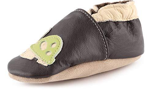 Ladeheid Mädchen Jungen weiche Leder Babyschuhe mit rutschfesten Wildledersohlen LAFIO101 (Schwarz/Schildkröte, 20 EU)