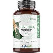 Spirulina Tablets - (600 x 500mg Tablets) - 3000mg Per Serving - Vitamin, Minerals, Protein & Iron Rich Food Supplement, Immune Health, Energy, Brain & Heart Health, Vegan Green Pills