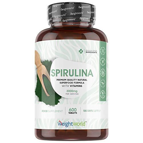Espirulina Comprimidos 3000 mg por Dosis, 600 Tabletas Vegano - Suplemento Espirulina Pura, Superalimento Potente Fuente de Proteínas Minerales Vitaminas B, C, D, Calcio, Potasio, Hierro y Magnesio