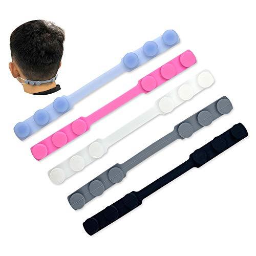 Ealicere 5 Stücke Einstellbarer Maskenhaken Extender, Silikon Ohrhaken Ohrhalter Headset Ohrbügel Ohrpolster Einstellbar Ear Hook-Entspannen Sie Ihre Ohren