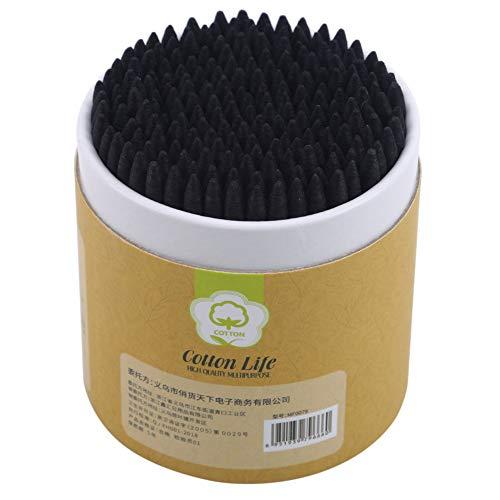 FUNSS 200 Stück/Karton Kosmetik Wattestäbchen Holz Einweg-mehrfarben-Make-up Wattestäbchen Biologisch Abbaubare Q-Tips Doppelkopf-wattestäbchen,schwarz