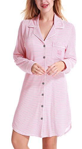 NORA TWIPS Schlafanzugoberteile für Damen, Nachthemden für Damen, Damen Schlafanzug Set, Damen Viskose Nachthemd Knopfleiste Sleepshirt Alle Jahreszeiten(MEHRWEG), 32-34/XS, Pink