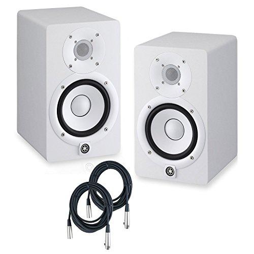 Yamaha HS5 Powered Studio Monitors Pair WHITE w/XLR Cables - Bundle