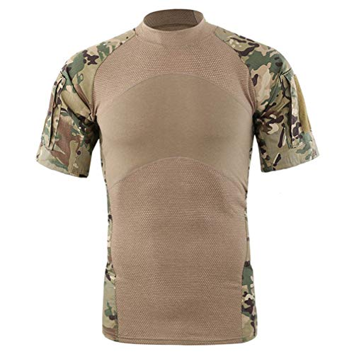 Homme Short Sleeve Army Camo Compression Tactical Combat T-Shirt Sports Quick Dry Underwear Tee Shirt Tight Tops(M, CP Camo)
