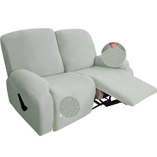 SLOUD Funda reclinable de 2 plazas, Funda de sofá reclinable elástica de 6 Piezas, Fundas de sofá de 2 Cojines, Protector de Muebles elástico Suave Lavable para Mascotas y niños-Blanco Marfil