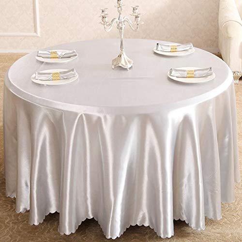 YQ QY Tischdecke Runde Banketttische Runde Crinkle TAFT Tischdecke Dark Silver/Platinum, Runde Tischwäsche for Runde Banketttische QY Tischdecke (Color : Silver Grey, Size : Round 380cm)