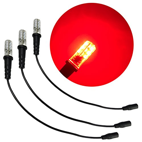 3 pack red special effects led 12 volts dc with foam wood mounting cable socket dc barrel connector for themed environments props theatrical scenery fire flame