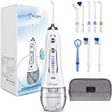 Water Flosser for Teeth BESTOPE 300ML Cordless Electric Teeth Flosser Dental Oral Irrigator with 5 Modes and 8 Jet Tips, IPX7 Waterproof, USB Charged Portable Teeth Cleaner with Travel Bag
