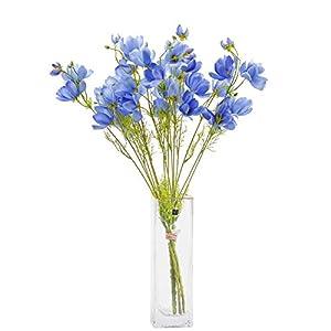 Silk Flower Arrangements cn-Knight Artificial Wild Flower Cosmos 12pcs Long Stem Coreopsis for Wedding Bridal DIY Bouquet Home Décor Centerpieces(Blue)
