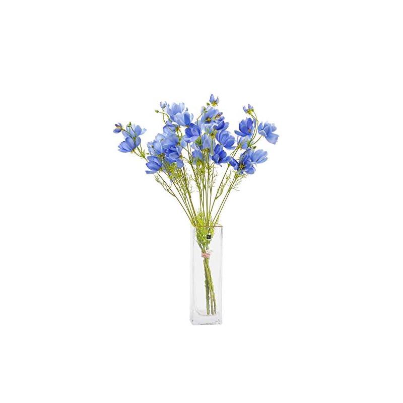 silk flower arrangements cn-knight artificial wild flower cosmos 6pcs long stem coreopsis for wedding bridal diy bouquet home décor centerpieces(blue)