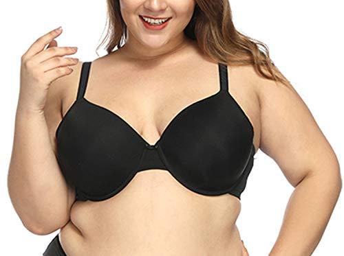 Full Coverage Unlined Comfort Bra Breathable Underwire Bralette Brassiere Plus Size Women,Color Black Bra,J,48