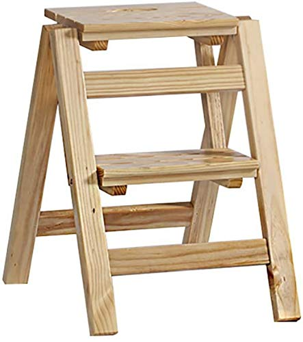Flower Stand Plant Rack Folding Ladder Stool Solid Wood Step Stool,Flower Stand Household Ladder Shelf Multifunction Indoor Ascend Small Ladder (Color:A, Size:3 Steps) Display Stand Home Decor