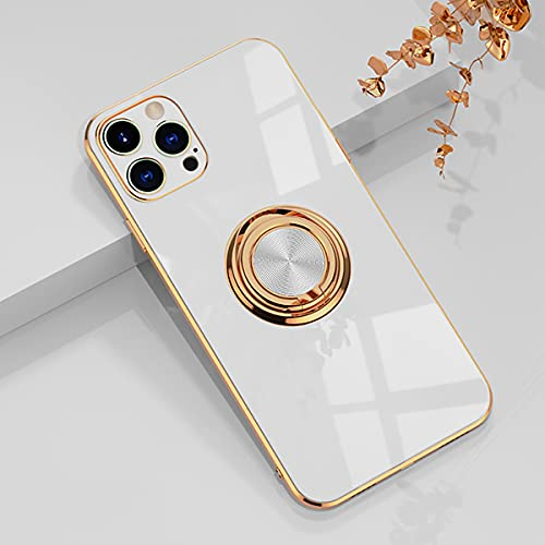 aowner Compatible with iPhone 12 Pro Max Ring Holder Case Shiny Plating Rose Gold Edge 360 Degree Rotation Kickstand for Women Girls Slim Soft Flexible TPU Protective Cover Case, 6.7 Inch