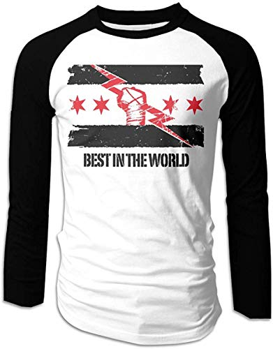 DianaLHodge Men's cm Punk Best in The World Long Sleeve Fit Baseball T-Shirts,Black,Large
