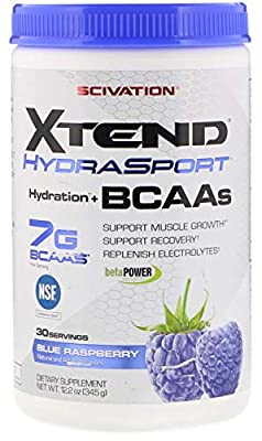 XTEND Sport BCAA Powder Blue Raspberry | NSF Certified for Sport + Sugar Free Post Workout Muscle Recovery Drink with Amino Acids | 7g BCAAs for Men & Women | 30 Servings