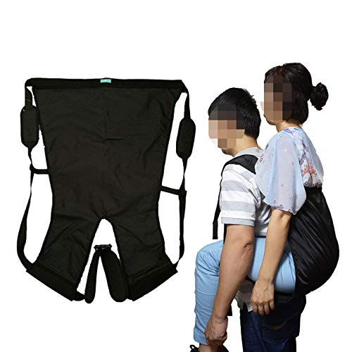 Double Layer Patient Lift Sling Carrier One-Person Transferring Belt for Carrying Up and Down Stairs to Bed,Wheelchair,Chair,Car,Vehicle for Elderly,Handicapped,Disabled,Bedridden (Black, Large)